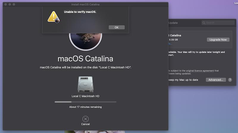 Проблеми з оновленням macOS Catalina